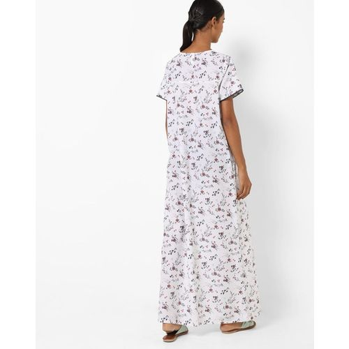 HUSHH Floral Print Nightgown with Lace Trims
