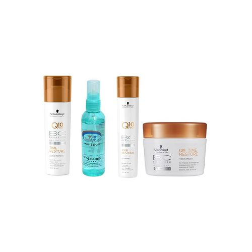 schwarzkopf q10 plus time restore conditioner + masque + shampoo with pink root hair serum (pack of 4)