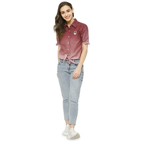 Campus Sutra tie front ombre shirt