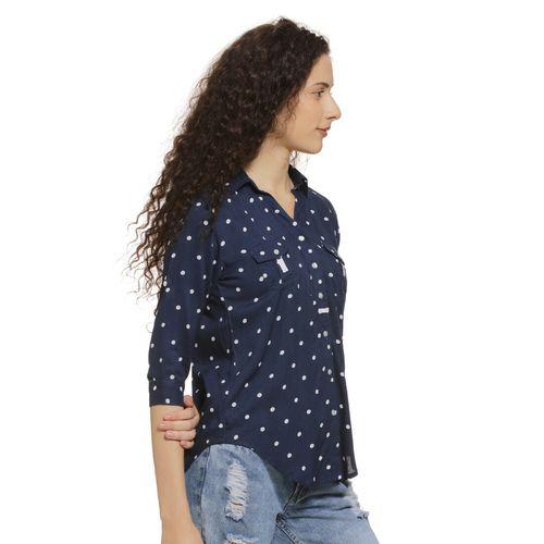 Campus Sutra pocket detail polka dots shirt