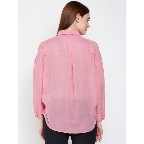 oxolloxo cold shoulder embroidered striped shirt