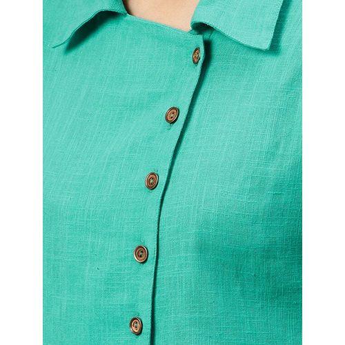 jaipurkurti extended placket roll up sleeved shirt