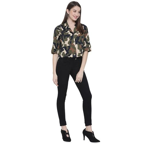 oxolloxo roll up sleeved camouflage shirt