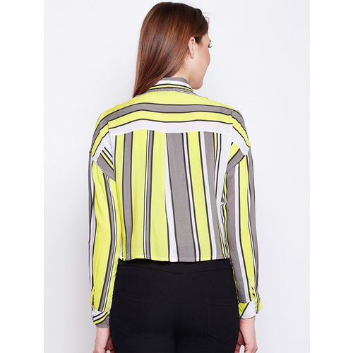 oxolloxo back pleat striped cropped shirt