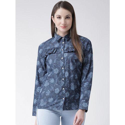 The Vanca frill detail floral denim shirt