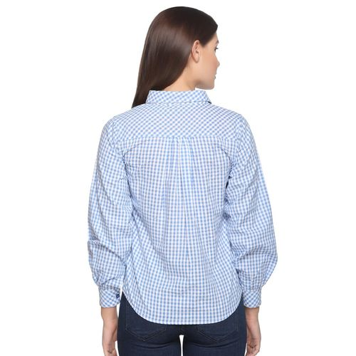 ARMURE gingham checkered bishop sleeved shirt