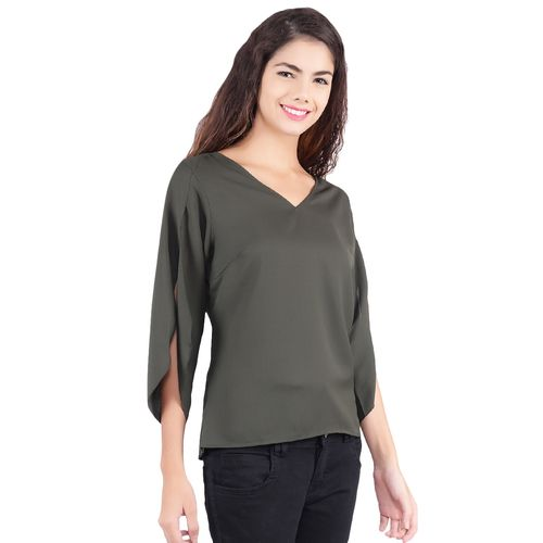 POPWINGS cut out back slit sleeved top