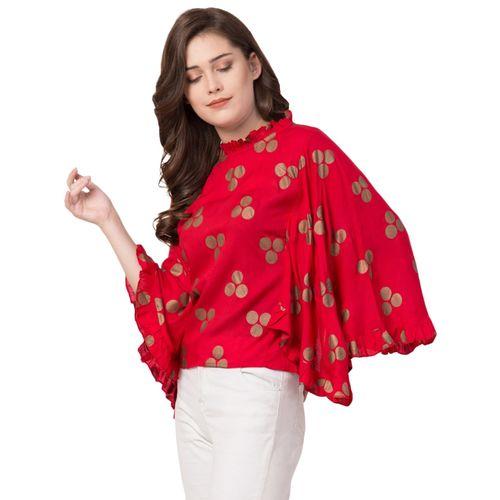 Aisa Fashion kimono sleeved frill trim quirky print top