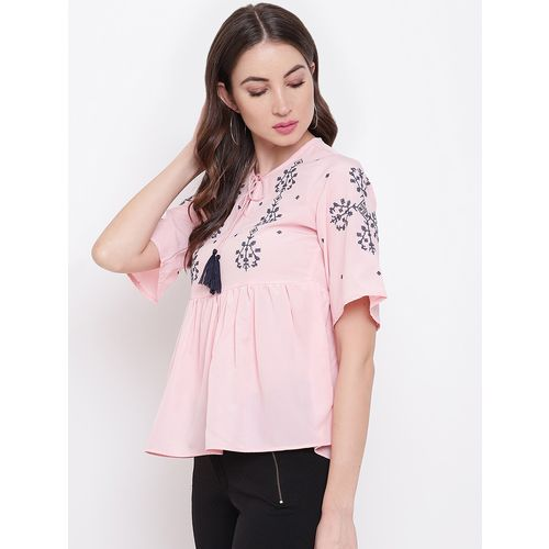 Mayra tie up neck embroidered top