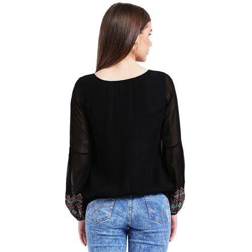 TAURUS elasticated embroidered sleeved top