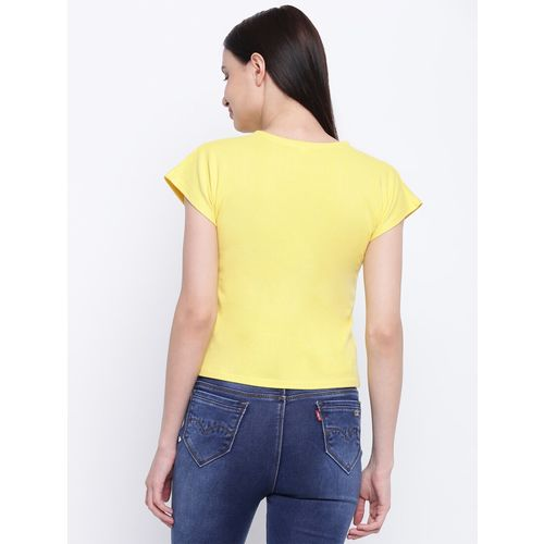 everlush mellow yellow quirky text crop tee