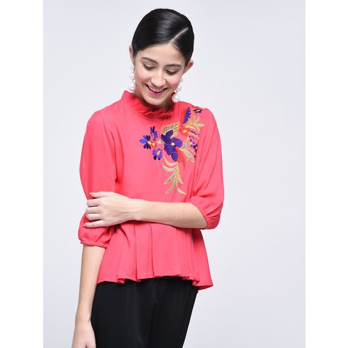 NAMAN.COM embroidered pleated asymmetric top