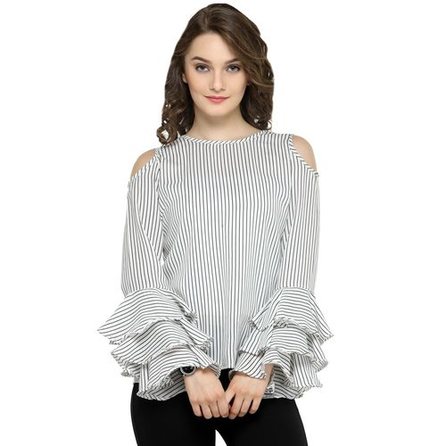 PLUSS bell sleeved striped top