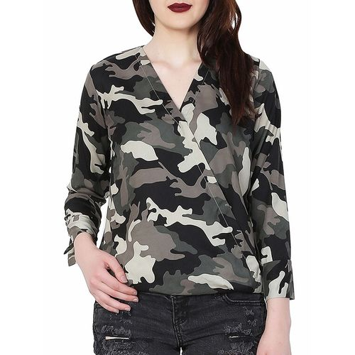 MALLORY WINSTON surplice neck camouflage blouson top