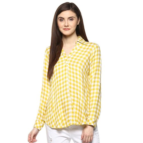 TAURUS yellow checkered viscose top