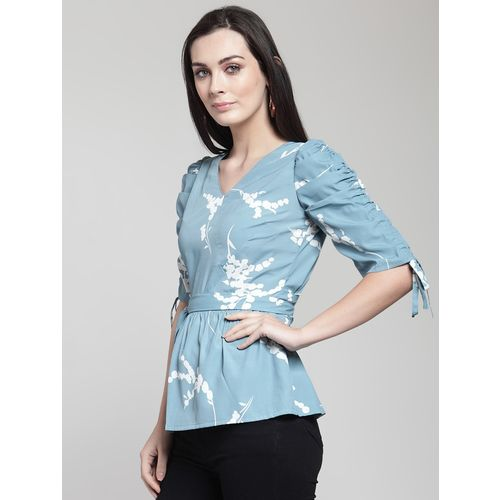 PLUSS ruched sleeved tie up waist top