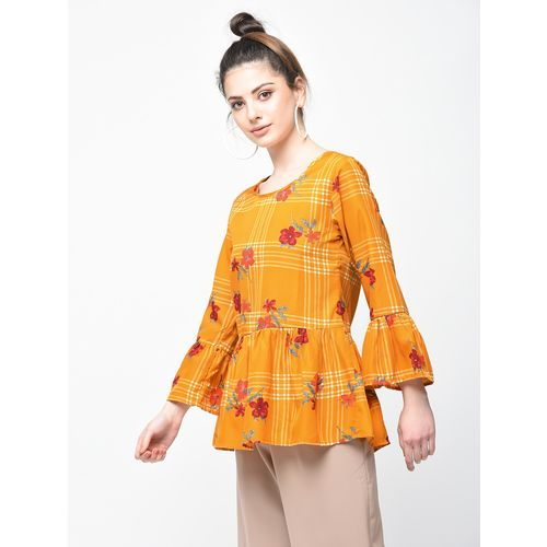 Passionate bell sleeved checkered floral top