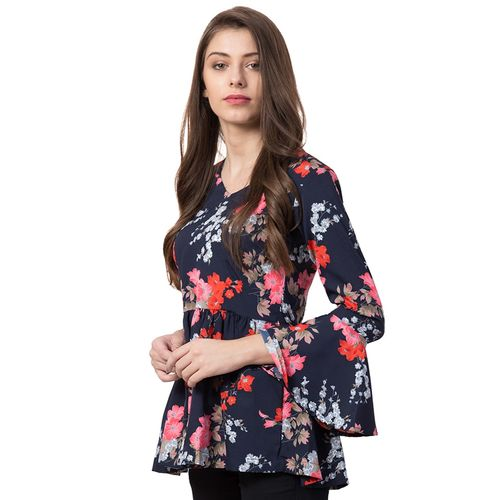 Siphon bell sleeved floral top