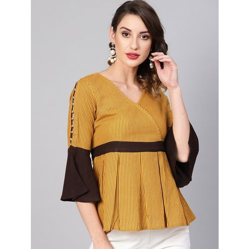 Yash Gallery bell sleeved pearl embellished top