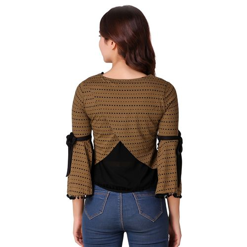 texco overlap back bell sleeved top