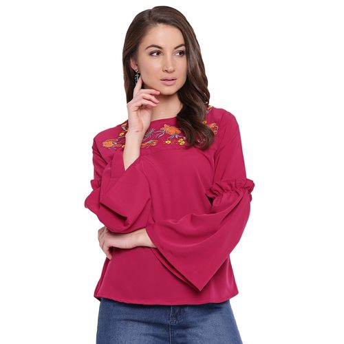 Mayra embroidered detail bell sleeved top