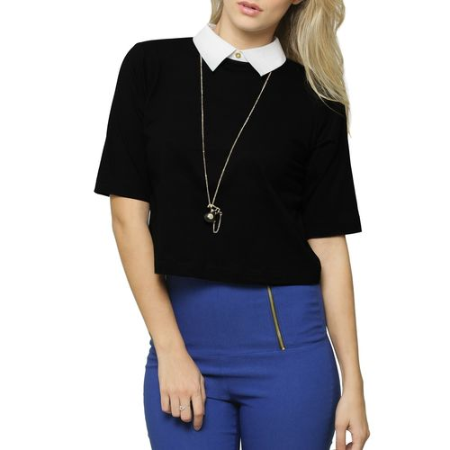 Miss Chase black crop top with white collar