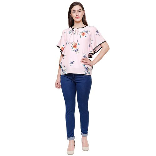 Flickzon floral tie neck ruffled sleeved top