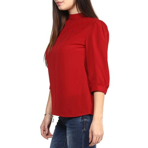 RARE red poly georgette top