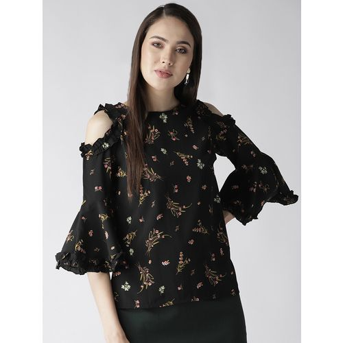 PLUSS cold shoulder ruffle detail floral top