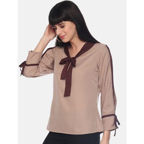 MORPHOLOGY contrast tie knot slit sleeved top