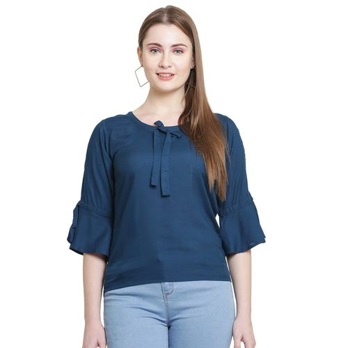 IKRA FASHION slit bell sleeved solid top