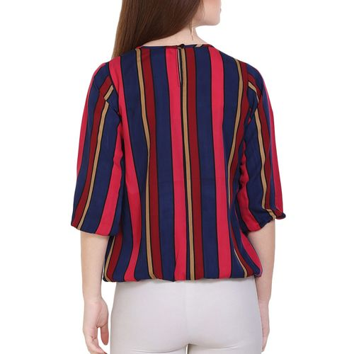 FORELEVY pleated neck striped top