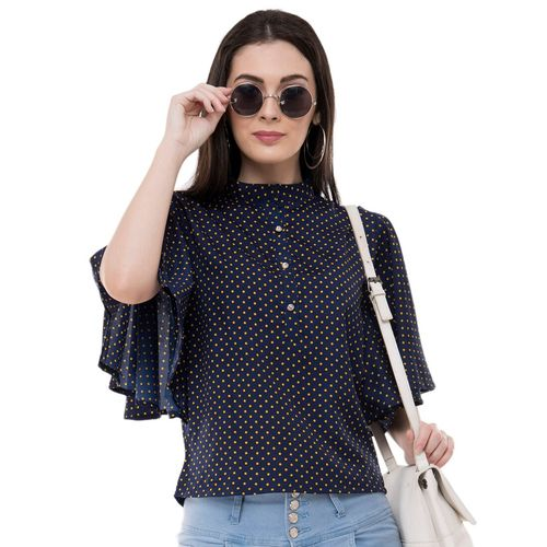 Absorbing ruffle sleeved dot print top
