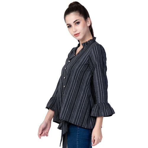 jaipur Gallery tie front bell sleeved striped top