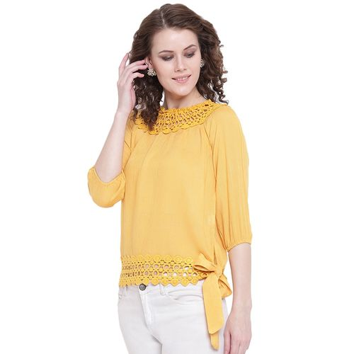 Mayra tie front lace detail top