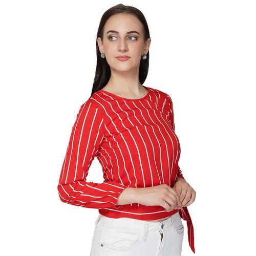 STYLYZR tie knot waist striped top
