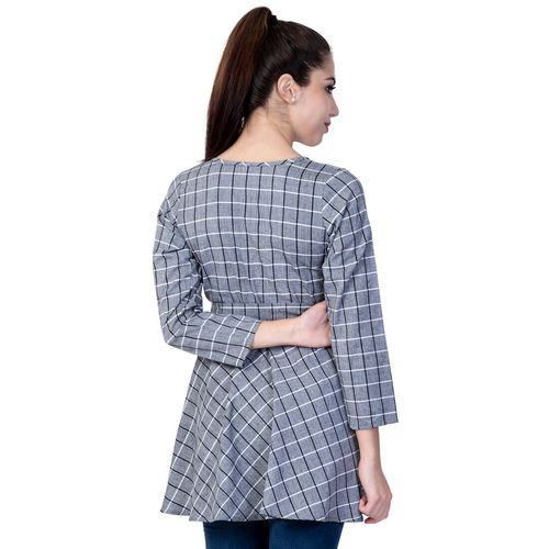 jaipur Gallery tie front checkered high-low top