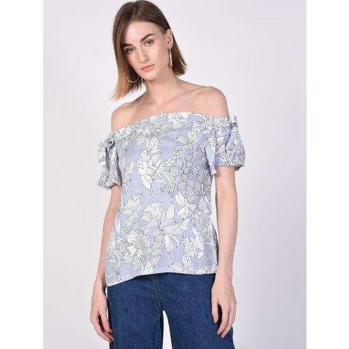 SOHO off shoulder knot detail floral top