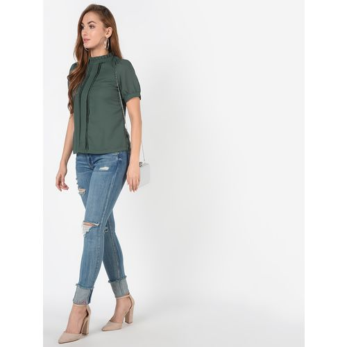 SOHO ruffle trim pleated top