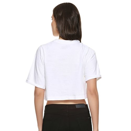 Campus Sutra knot detail quirky print crop top