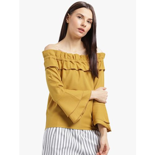 Leo Sansini yellow solid off shoulder bell sleeved top