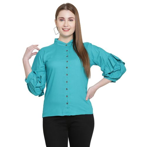 IKRA FASHION frill detail mandarin neck top