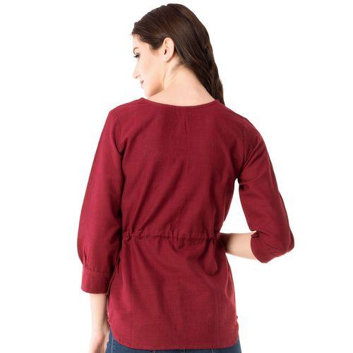 GMI pom-pom drawstring waist top