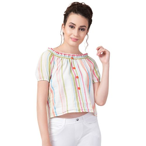 Hive91 off shoulder striped crop top