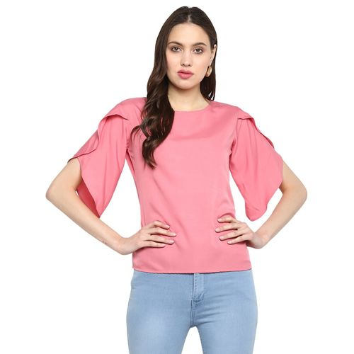 One Femme tulip sleeved solid top