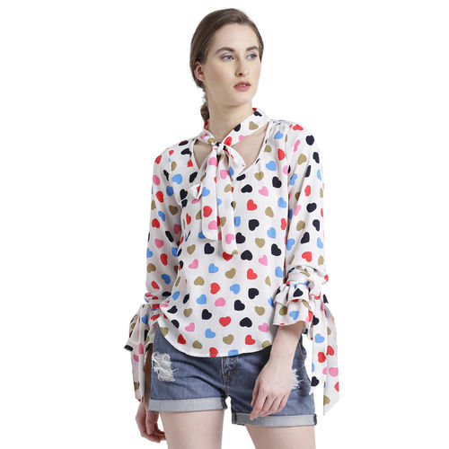 texco tie up detail heart print top