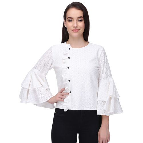 Femina ruffle trim button up laced top