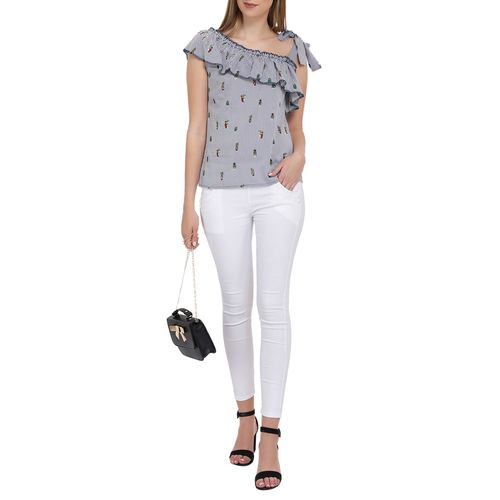 AKIMIA ruffled striped quirky print top