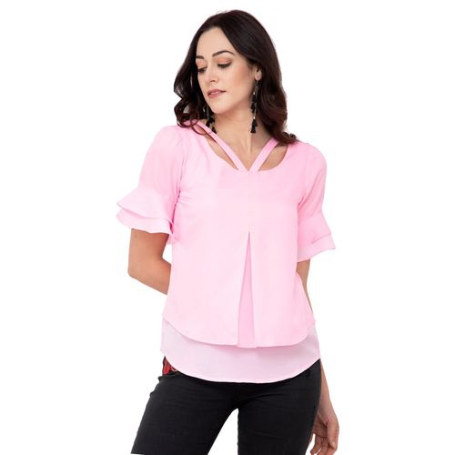 KARMIC VISION cut out neck layered top