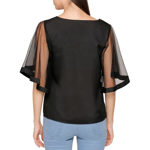 Dracht sheer bell sleeved polyester top